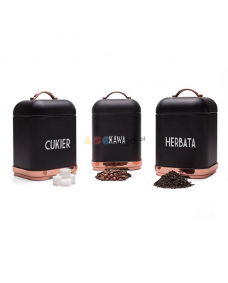 3 POJEMNIKI KUCHENNE STERKE PRO HARPER Kawa Herbata Cukier CZARNE